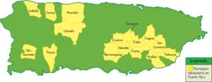 Este mapa presenta los municipios donde se cosechaba tabaco para la década del siglo XIX y XX.